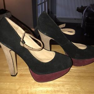 High heel platform faux sued shoes